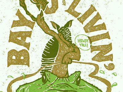 Bayou Livin' howdy yall bayou livin screen printing texture halftones louisiana gator armadillo