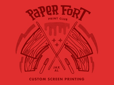 Shop Rags squeegee flag paper fort shop rags ink squeegee halftones red screenprinting