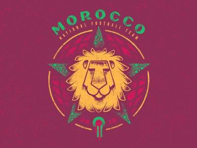 Morocco lion illustration world cup soccer morocco football badge design badge 2018
