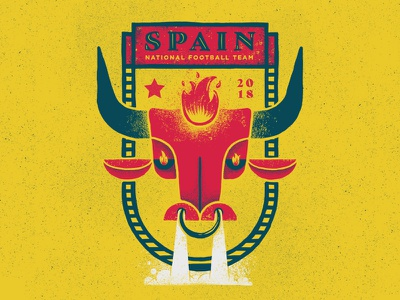 Spain soccer fire bull fury red fury the red fury spain illustration football badge design badge 2018