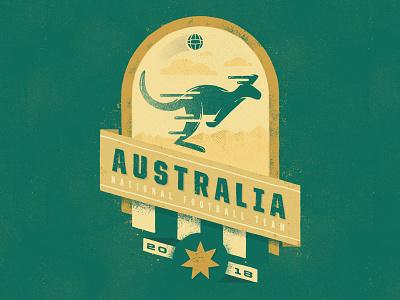 Australia socceroos australia soccer illustration football badge design badge wold cup fifa 2018
