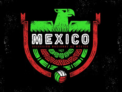 Mexico eagle pattern wold cup soccer illustration football fifa el tri mexico badge design badge 2018