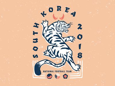 South Korea wold cup soccer pattern illustration football fifa the red devils south korea badge design badge 2018