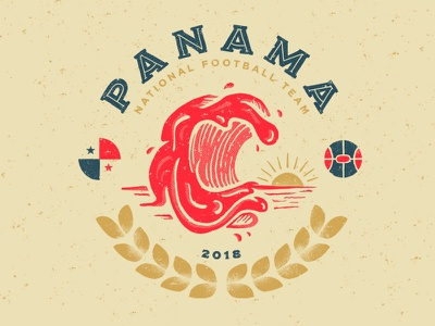 Panama wold cup the red tide panama soccer illustration football fifa badge design badge 2018