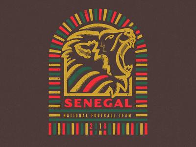 Senegal world cup soccer illustration football fifa the three lions of teranga senegal badge design badge 2018