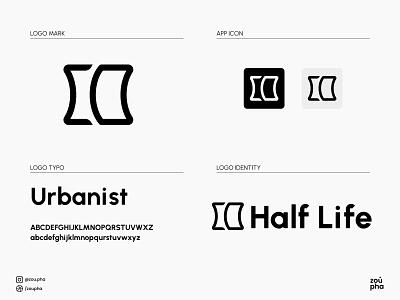 Half Life Logo blacknwhite white black branding illustration logo design vector minimal logo graphic design design
