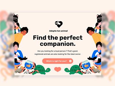 Adopte ton animal - Landing page 🐶❤️ adopt interface animals pets user experience inspiration inspi landing page user interface ux ui
