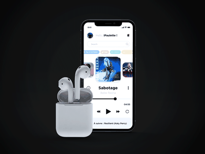 Daily UI 009 - Music Player by iPaulette ipaulette adobe xd figma mobile app tunes design app ios user experience user interface inspi inspiration music player music daily ui 009 daily ui ui challenge ux ui