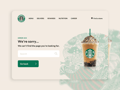 Daily UI 008 - Error 404 by iPaulette for Starbucks yummy coffee adobe xd figma daily ui 008 daily ui logo illustration design user interface user experience ui challenge inspi inspiration error 404 starbucks ios app ux ui