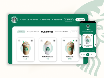 Daily UI 012 - eCommerce Shop for Starbucks Coffee by iPaulette mobile app ios illustration logo ecommerce eshop daily ui 012 daily ui starbucks coffee figma inspiration inspi ui design user interface user experience ui challenge ux