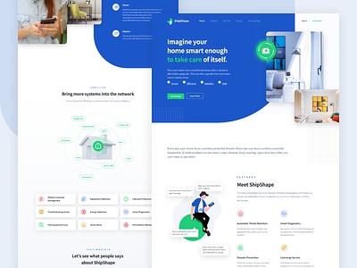 ShipShape Landing Page retail blue smart home illustration app design branding responsive mobile clean app design ux ui landing page