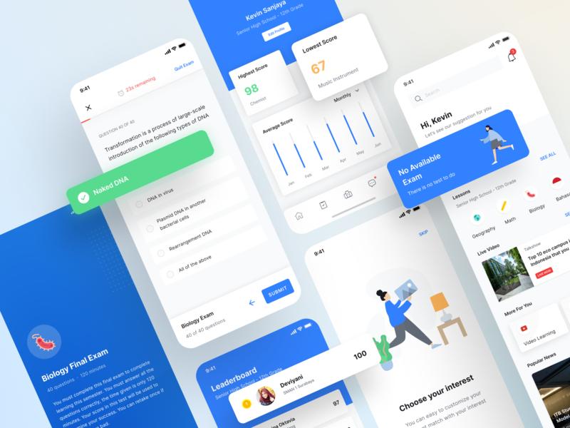 Smartdeck - Exam, Leaderboard, Profile Page branding social media teacher dashboard student online class online course e-learning school app android app design ux ui