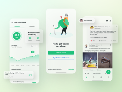Holeswing - Performance, Social Network, and Onboarding fitness app onboarding scorecard gps tracker tracker dashboard social media social network golf course sport mobile android ios design clean app ux ui