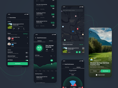 Holeswing - Dark Theme Version game gps tracker maps social media futuristic statistics dark scoreboard scorecard golf mobile ios android app clean ux design ui