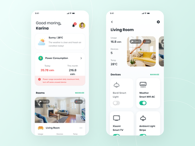 Lifesmart - Smarthome Mobile App camera dashboad weather app web design mockups artificial intelligence colorful internet of things iot smarthouse smarthome minimalistdesign mobile ios android app clean design ux ui