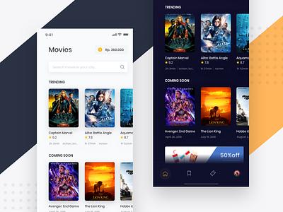 Movie App - Mobile App Exploration cinema iphone dark ticket payment app movie flat app design mobile ios android ux clean app design uiux ui