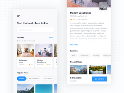 Hotel Booking App - Mobile App booking travel real estate room hotel minimalistdesign flat design app clean mobile ios android ux ui