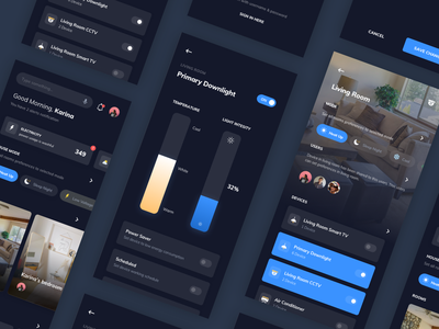 Smart Home - Mobile App Exploration dark ai artificial intelligence smarthome android mobile flat clean design ios app ux ui