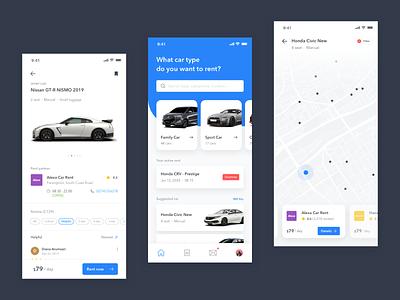 Mobile Exploration - Rental Car App rental location light blue maps car rent mobile ios android clean app flat ux design ui