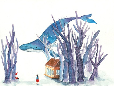 Girl and Whale watercolorpainting house blues fox thanhxinh fairytale whale girl