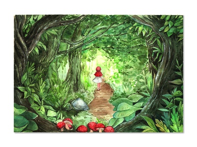 Red ridding hood forrest girl watercolorpainting fairytale thanhxinh illustration