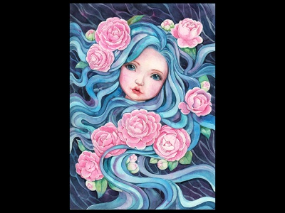 Spirit of Camellia longhair flowers camellia girl watercolorpainting illustration thanhxinh