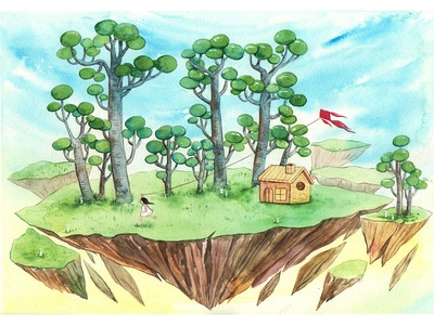 Dream Land dreamland dreamer dream kiterunner kite island thanhxinh girl watercolorpainting illustration