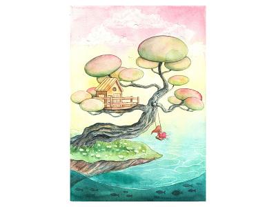 Dream Land 2 treehouse tree alone dreamland sea watercolorpainting thanhxinh illustration