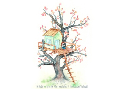 Tree House alone tree illustration watercolorpainting watercolor thanhxinh treehouse