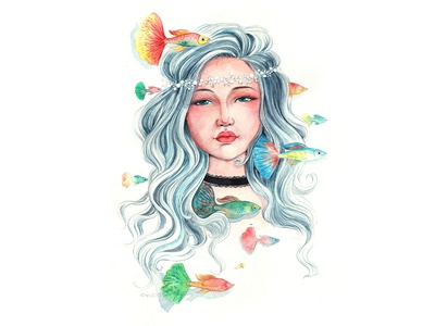 Silence color fishes fish alone girl watercolorpainting thanhxinh illustration