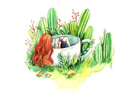 Dream Land 3 catus color reading fairytale girl alone tree dreamland thanhxinh watercolorpainting illustration