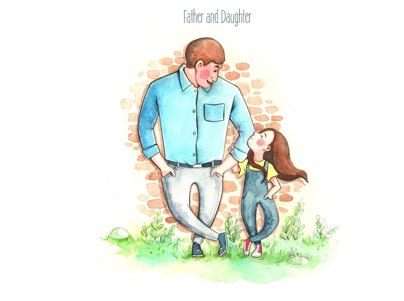 Papa family sweetheart daughter father papa dad watercolorpainting thanhxinh illustration