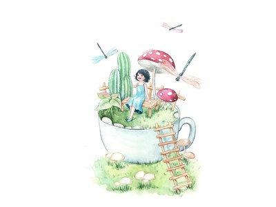 Little Garden dragonfly fairytale dreamland girl alone watercolorpainting thanhxinh illustration