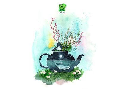 Tea Pot whale teapot tea ocean blues dreamland alone watercolorpainting thanhxinh illustration