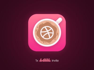 Dribbble Invite ticket iphone graphic logo photoshop coffee cup ios icon invitation invite dribbble