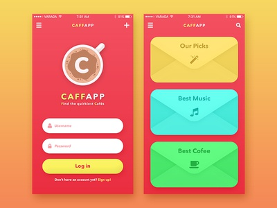 CaffApp gradient colorful fun cafe coffee ux ui interface application app android ios