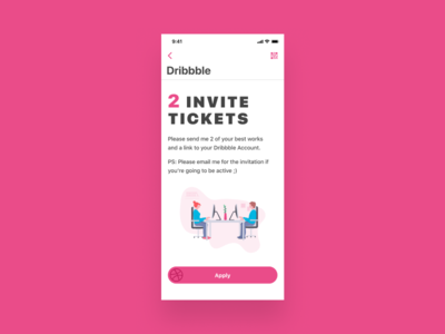 Dribbble Invite ticket design ux ui app android ios apply invitation invite dribbble