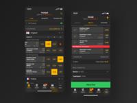 TotoSport App for iOS android app ios dark black uiux sportsbook sport betting mobile application interface adobe xd statistics gambling game branding ui ux
