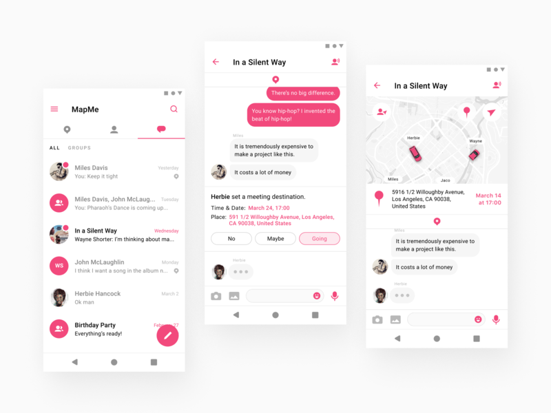 MapMe App for Android filter ux uiux ui social simple pink map iphone ios interface group flat design contacts chat application app android