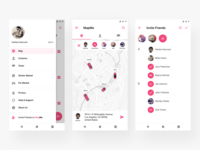 MapMe App for Android 2 account menu filter ux uiux ui social simple pink map iphone ios interface group design contacts chat application app android