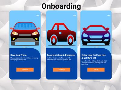 Onboarding dailyui ride sharing app onboarding. color branding ui ux design
