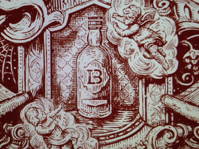 Sketches with the monogram from previous shot label rococo line