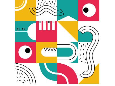 Monster! geometric eye monster pattern graphic design children illustration child design vector illustration