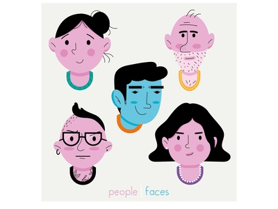 People faces woman man faces people face graphic design character design vector illustration