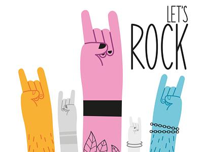 ROCK!!! music rock hand character graphic design design vector illustration