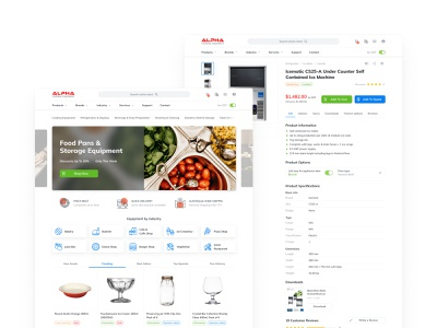 Alpha Catering - Home & Product Page ux ui white clean catering store site ecommerce web uiux redesign