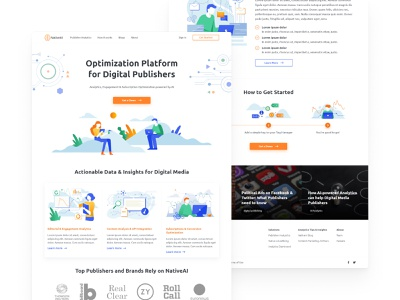 NativeAI Homepage creative illustrations illustration product design webdesign website site clean design web redesign uiux ux ui