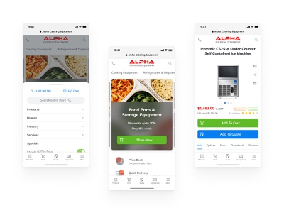 Alpha Catering - Mobile Home & Product Page mobile ui homepage catering webdesign ecommerce store mobile site mobile website ios site web design white redesign uiux ux ui