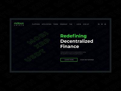 Mobius Crypto Redesign crypto currency crypto wallet cryptocurrency crypto logotype logo design green branding logo black figma web app site design redesign uiux ux ui