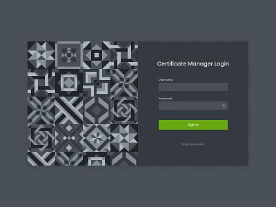 Certificate Management System Login login webapp dark web uiux redesign ux ui